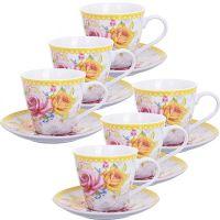 """Чайный сервиз """"Розы""""1, 220 мл фарфоровый Lorain, 25793"""