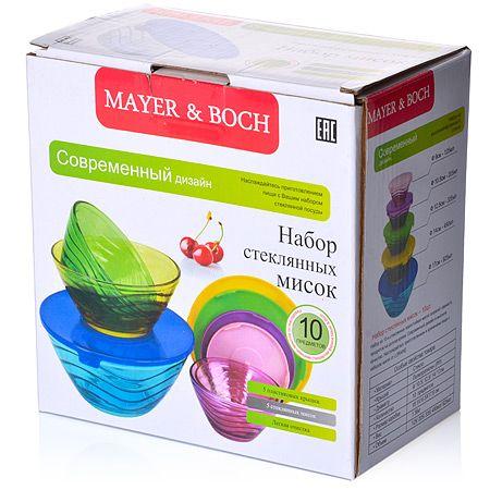 Набор мисок Mayer&Boch 10 предметов 9 см, 10,5 см, 12,5 см, 14 см, 17 см с крышками материал стекло 27484