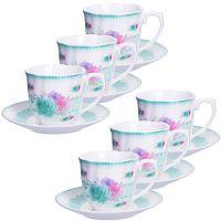 Кофейный набор Loraine чашка с блюдцем цвет белый, розовый, салатовый 25962