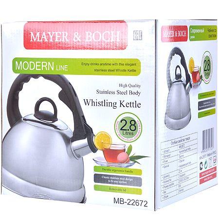 Чайник из металла 2,3 л, со свистком, Mayer&Boch, 22672