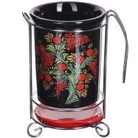 Подставка для столовых приборов Loraine 3 предмета цвет красный, черный с рисунком 28395