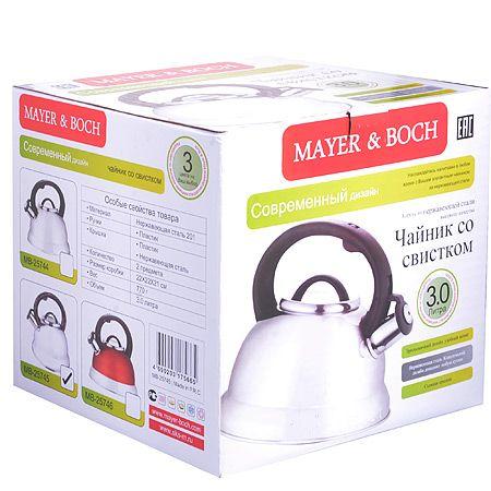 Чайник металлический 3 л Mayer&Boch со стеклянной крышкой и свистком, 25745