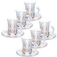 Набор для чая стекляный 12 предметов LORAINE с золотом, 27087