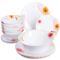 Набор стеклянной посуды Loraine цвет белый с декором 24101