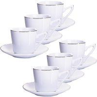 Кофейный набор Loraine 190 мл цвет белый, золотая кайма 25608