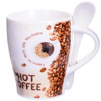 Кружка Loraine «COFFEE» 340 мл 8х10 см с ложкой 28468