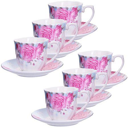 Кофейный набор Loraine чашка с блюдцем цвет белый, розовый, голубой 25958