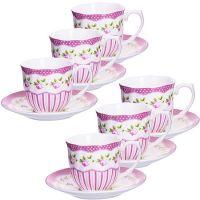 Кофейный набор Loraine чашка с блюдцем цвет белый, розовый, зеленый 25959