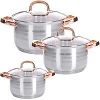 Набор посуды Mayer&Boch 6 предметов 2 л, 2,5 л, 3,5 л с медными ручками 28810