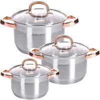 Набор посуды Mayer&Boch 6 предметов 2 л, 2,5 л, 3,5 л с ручками медного цвета 28811