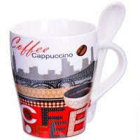 Кружка Loraine «COFFEE» 340 мл фарфоровая 8х10 см с ложкой 28471