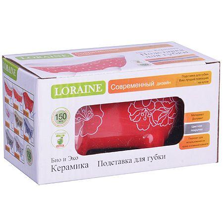 Подставка для губки Loraine «Красный узор» 150 мл цвет красный 25837