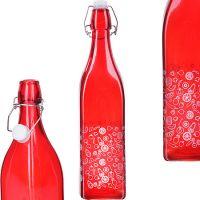 Бутылка Loraine 1 л 622 г стекло с крышкой красная 28175