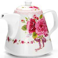 Заварочный чайник Loraine «Цветы» 1,1 л цвет белый, розовый, зеленый 26549