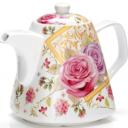 Заварочный чайник Loraine «Цветы» 1,1 л цвет белый, розовый, зеленый, золотой 26550