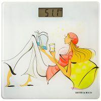 Весы напольные Mayer&Boch 150 кг цвет бело-голубой с рисунком 10948