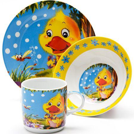 Набор столовой посуды Loraine «Утёнок» детский 3 предмета 24023