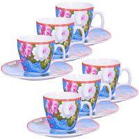 Кофейный набор Loraine «Розы» 12 предметов 80 мл фарфоровый 24757