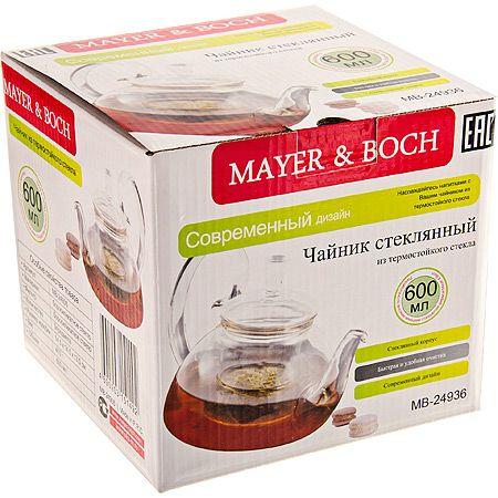 Заварочный чайник Mayer&Boch из стекла 600 мл 410 г с крышкой 24936