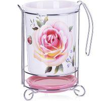 Подставка для столовых приборов Loraine 3 предмета цвет розовый, белый с рисунком 27745
