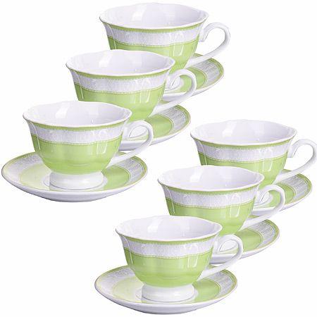 Кофейный набор Loraine из 12 предметов 80 мл фарфоровый цвет салатовый 28599