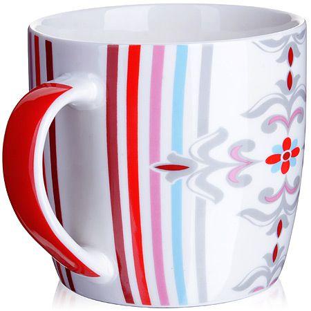 Кружка Loraine 320 мл цвет белый, красный, голубой 24481