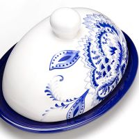Маслёнка Loraine «Гжель» 500 г из керамики с крышкой 24822