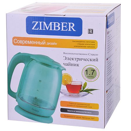 Электрический чайник 1,7 л 2200 Вт с подсветкой ZIMBER, 11242
