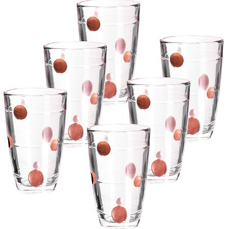 Набор стаканов Loraine 300 мл прозрачные с красным 24070