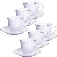 Кофейный набор Loraine 12 предметов 190 мл цвет белый, золотая кайма 25612
