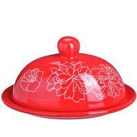 Маслёнка Loraine «Красный узор» 2 л овальная с крышкой 25830