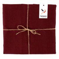 Скатерть на стол из умягченного льна с декоративной обработкой бордового цвета Essential, 143х250 см TK18-TС0017