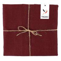 Скатерть на стол из умягченного льна с декоративной обработкой бордового цвета TK18-TС0013