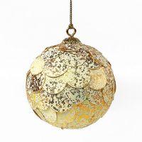 Шар новогодний декоративный Paper ball, золотистый мрамор en_ny0069