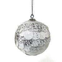 Шар новогодний декоративный Paper ball, серебристый мрамор en_ny0072