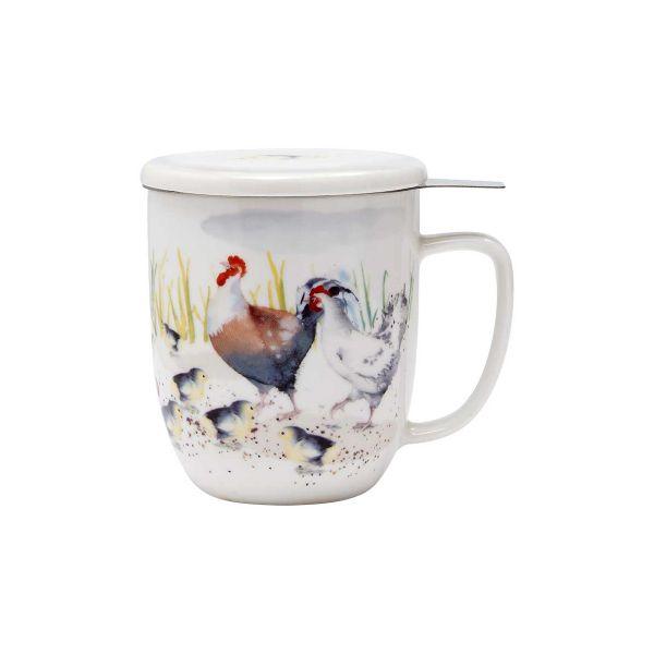 Кружка Ashdene Country Chickens с ситечком и подставкой 517279