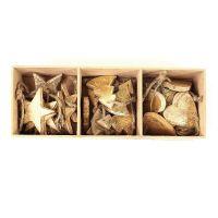 Украшения подвесные Golden Stars/Trees/Hearts, деревянные, в подарочной коробке, 24 шт. en_ny0021