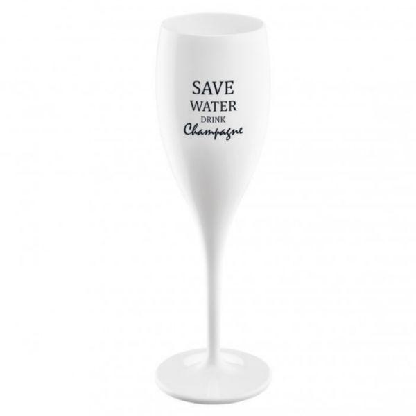 Бокал для шампанского с надписью SAVE WATER DRINK CHAMPAGNE, белый 3436525