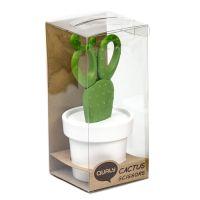 Ножницы Cactus с держателем белые с зеленым QL10282-WH-GN