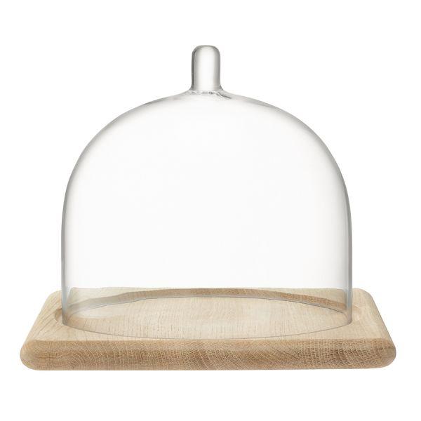 Блюдо со стеклянным куполом Serve 20,5 х 25 см дуб G1590-01-991