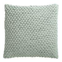 Подушка декоративная стеганая из хлопкового бархата мятного цвета из коллекции Essential, 45х45 см TK19-CU0004