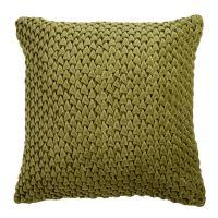 Подушка декоративная стеганая из хлопкового бархата оливкового цвета Essential, 45х45 см TK19-CU0003