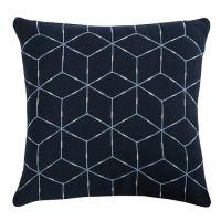 Подушка декоративная из хлопка темно-синего цвета с геометрическим орнаментом Ethnic, 45х45 см TK19-CU0010
