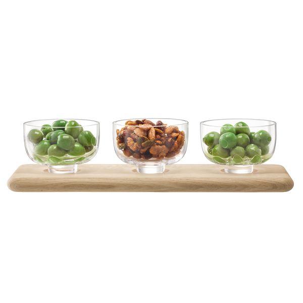 Набор из 3 стеклянных мисок на подставке Serve 33 см дуб G1592-03-991