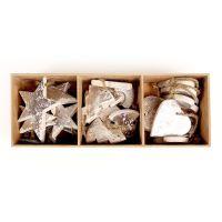 Украшения подвесные Silver Stars/Trees/Hearts, деревянные, в подарочной коробке, 24 шт. en_ny0012