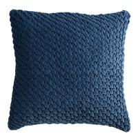 Подушка декоративная стеганая из хлопкового бархата темно-синего цвета из коллекции Essential, 45х45 TK19-CU0002
