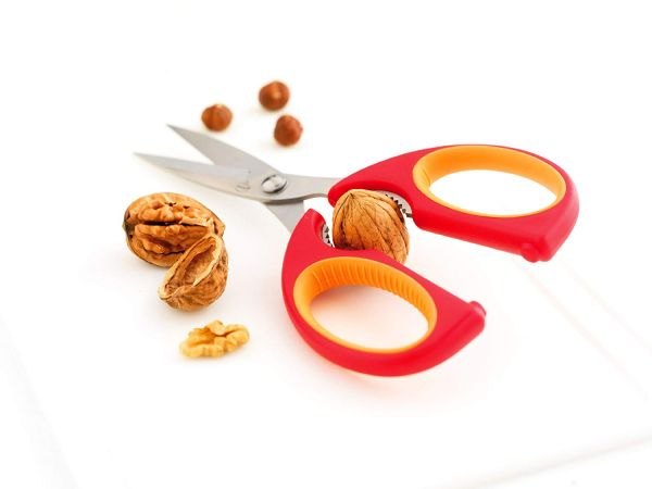 Ножницы кухонные красные с оранжевым F24004