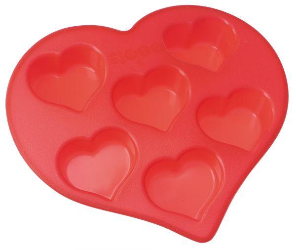 Форма для кексов 6 ячеек 'сердечки' 26,5х25,5х4 см Linea Silicone Regent Inox 93-SI-FO-19