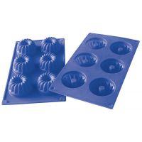 Форма для кексов (синяя) 6 ячеек фигурные 30х17,5х3,8 см Linea Silicone Regent Inox 93-SI-FO-24