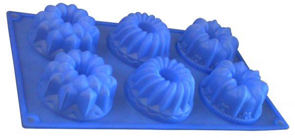 Форма для кексов 6 ячеек 'Ассорти' Linea Silicone Regent Inox 93-SI-FO-26